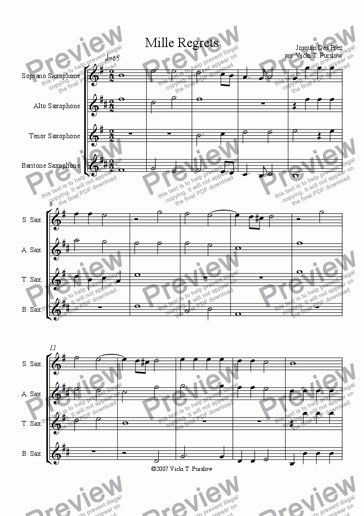 page one of Mille Regrets by Josquin for saxophone quartet