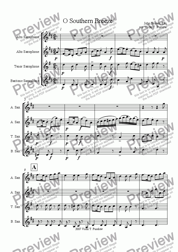 page one of Irish Air by John Brown for AATB Sax Quartet