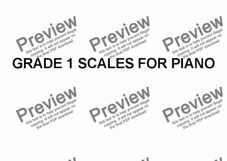 page one of Grade 1 Scales for Piano