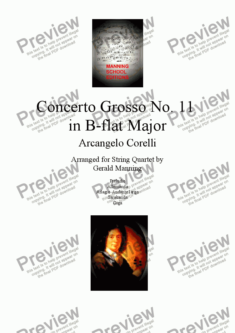 page one of CORELLI, A. - Concerto Grosso No. 11 in B-flat Major - arr. for String Quartet by Gerald Manning