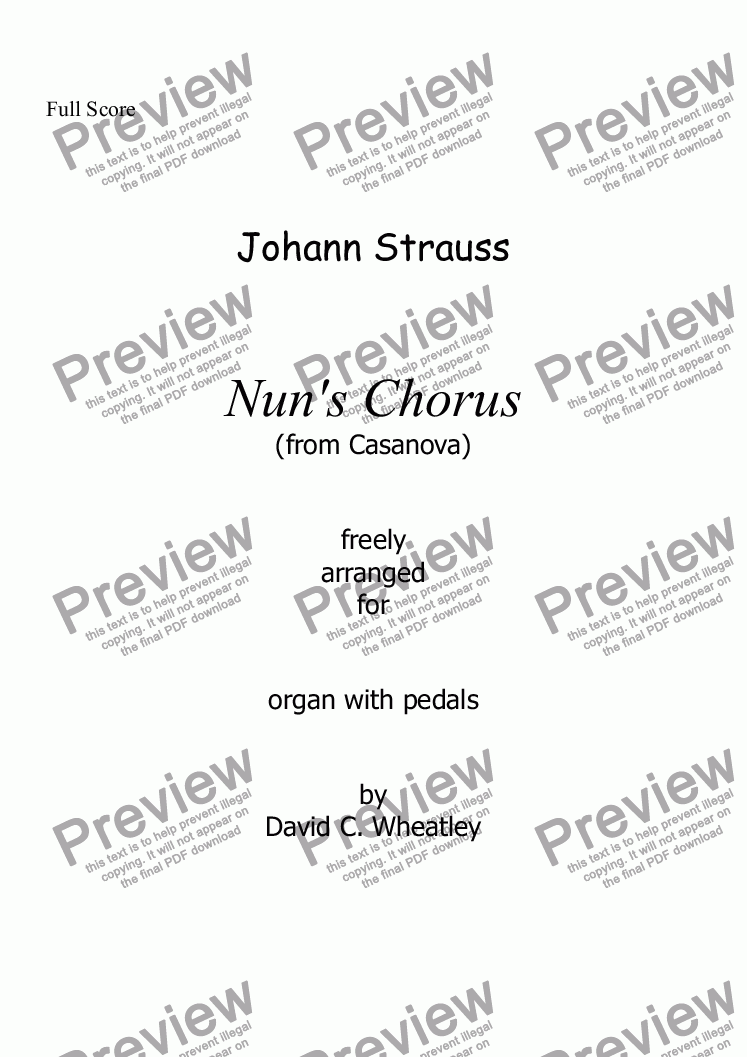 page one of Nun's chorus for organ solo