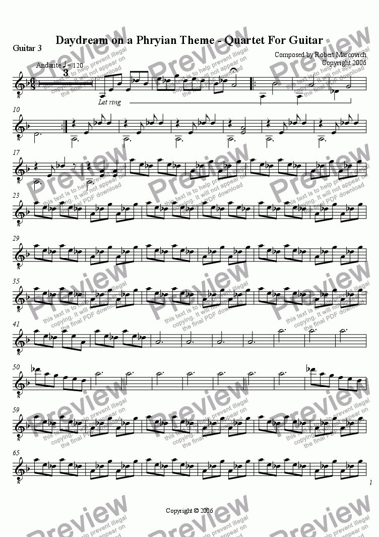 page one of Daydream on a Phrygian Theme - Guitar Quartet - Guitar 3