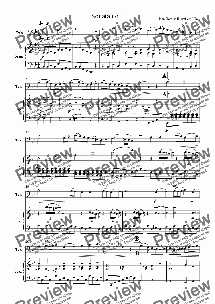 page one of Sonata no.1 for Bass Tuba