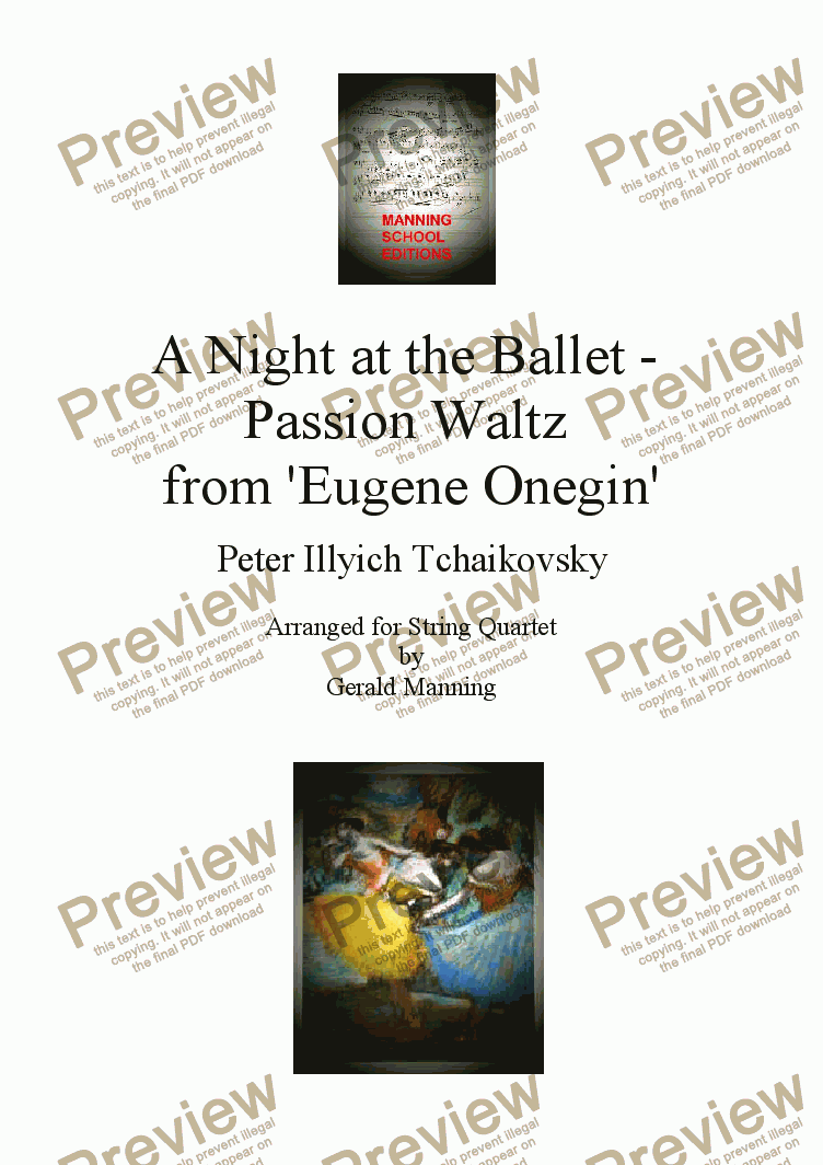 page one of A Night at the Ballet - Tchaikovsky, P. - Passion Waltz from 'Eugene Onegin' - arr. for String Quartet by Gerald Manning