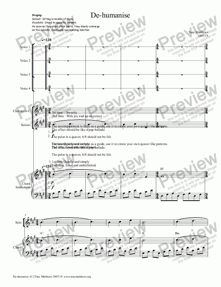 page one of De-humanise (Voices, Solo instrument, Chordal instrument)