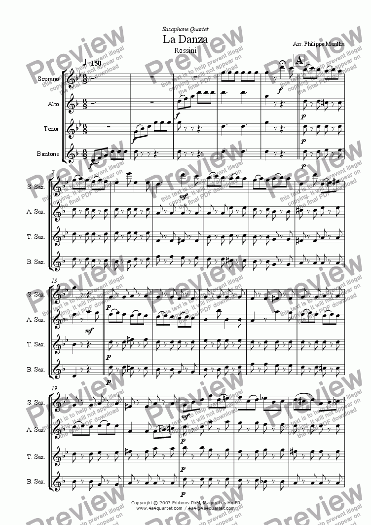 page one of Rossini - La Danza (Sax Quartet)