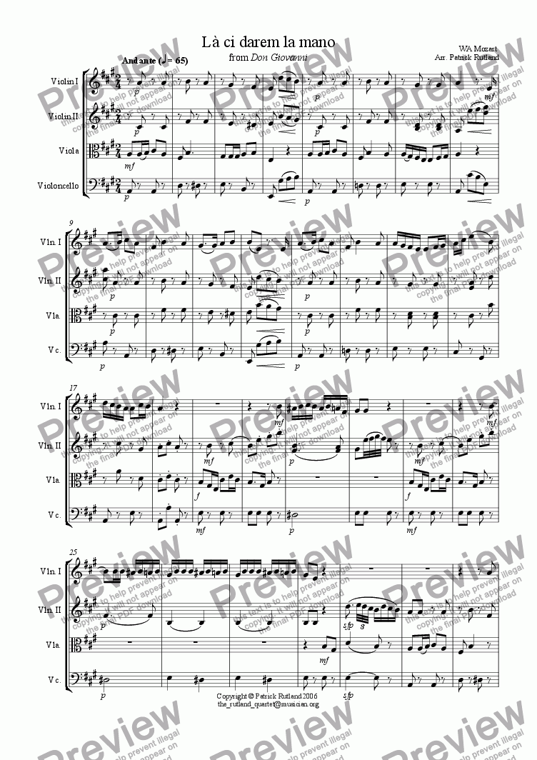 page one of La ci darem la mano from Don Giovanni