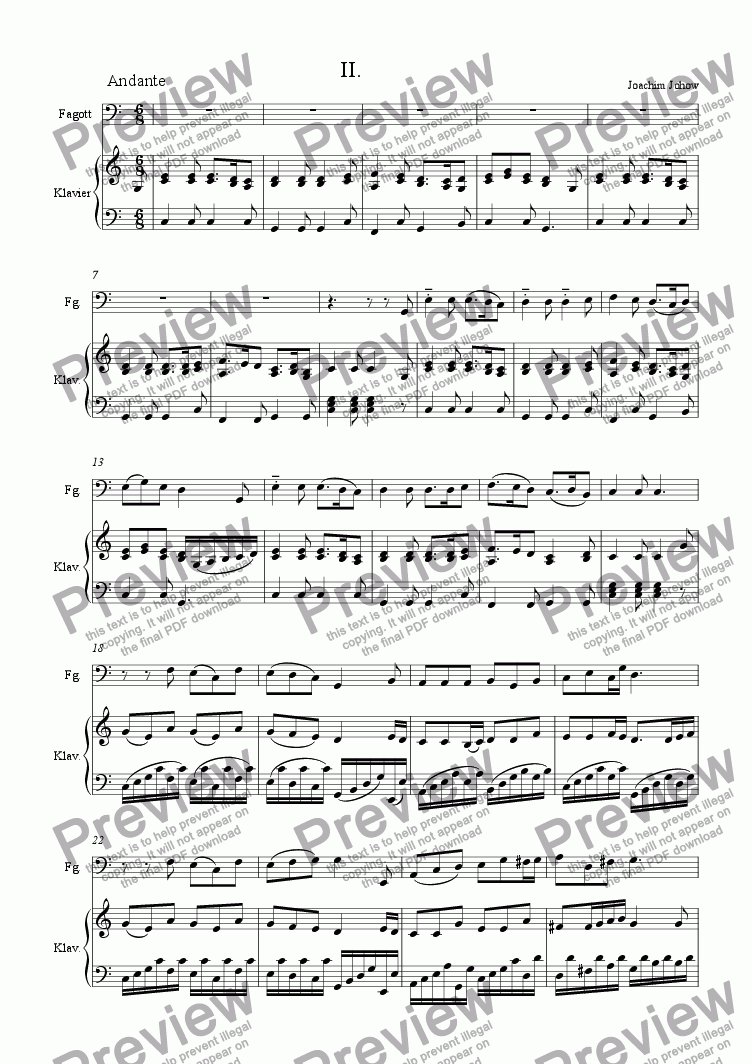 page one of Bassoon Sonatine (2. Satz)
