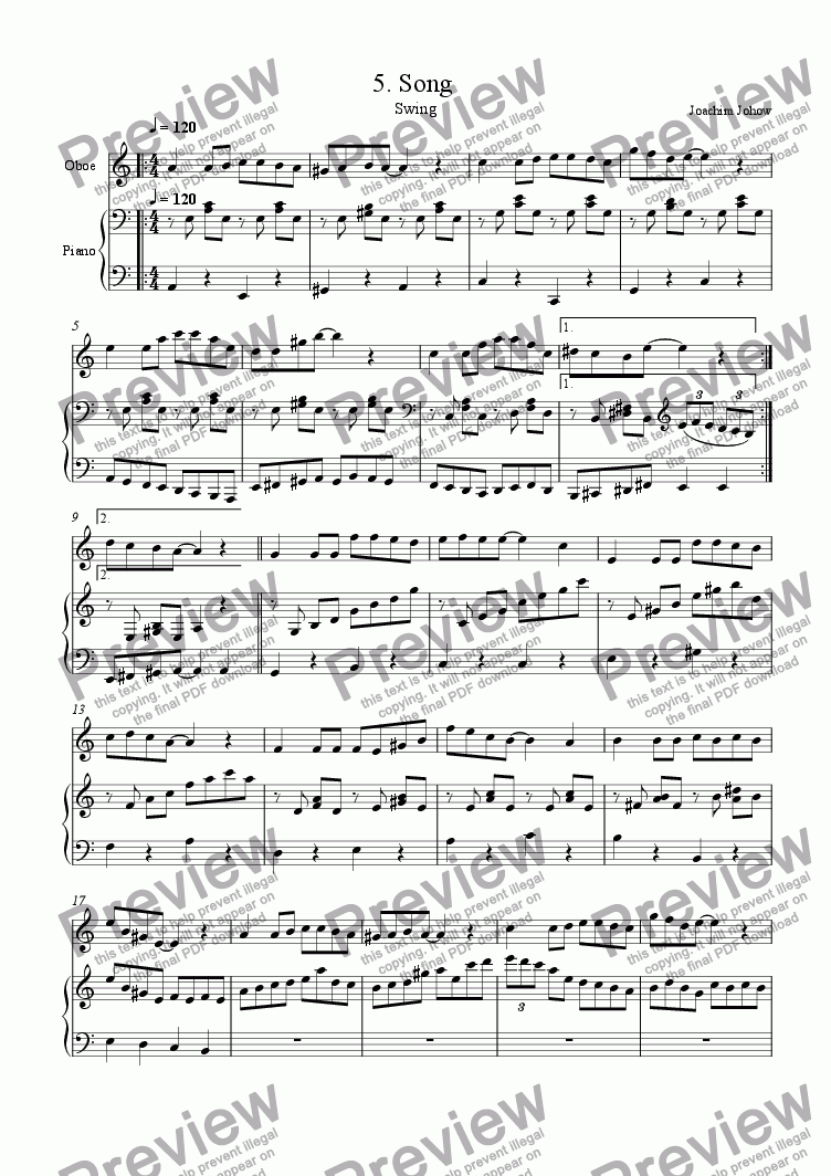 page one of Oboe Book 05 (Song)