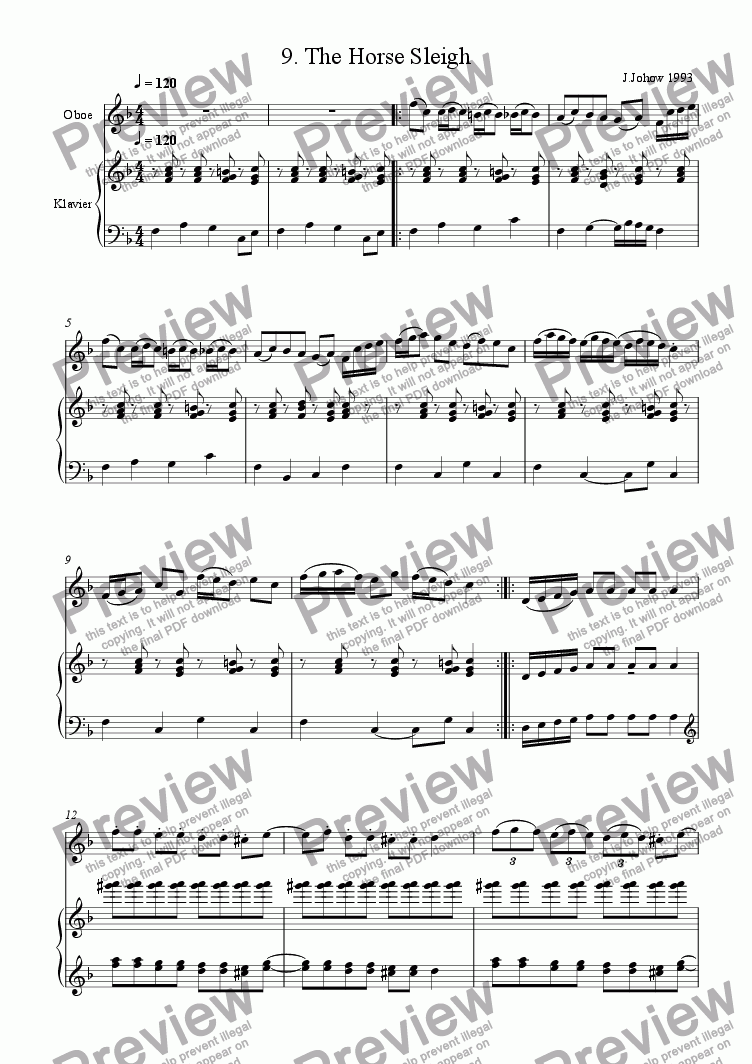 page one of Oboe Book 09 (The Horse Sleigh)