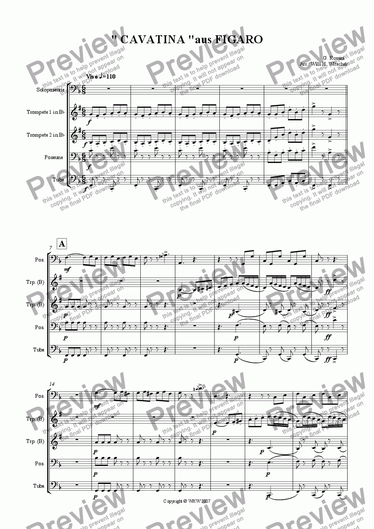 page one of CAVATINA from FIGARO