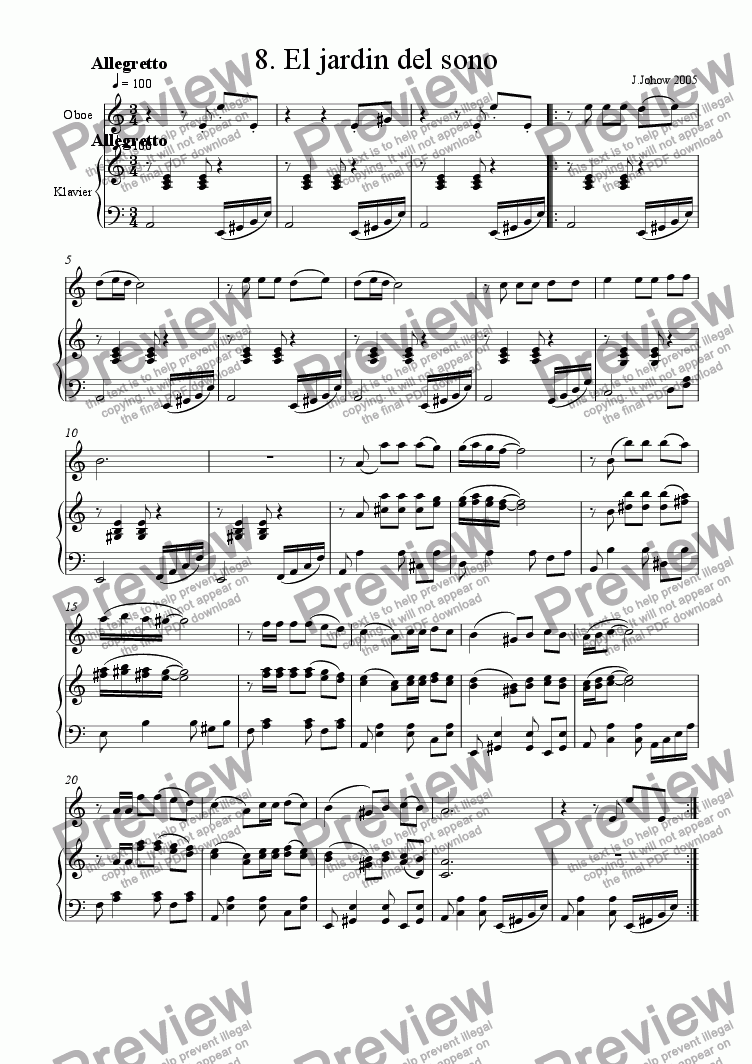 page one of Oboe Book 08 (El Jardin del Sono)