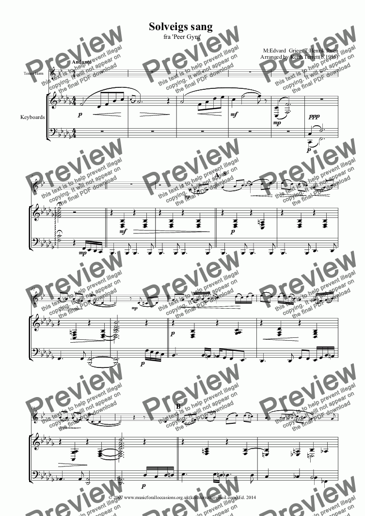 page one of Solveigs sang for Eb Tenor Horn & Keyboard