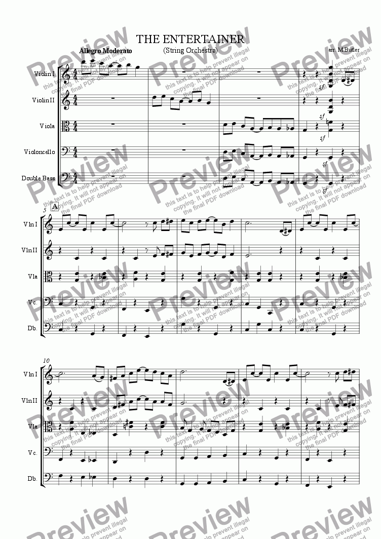 page one of The Entertainer - Scott Joplin