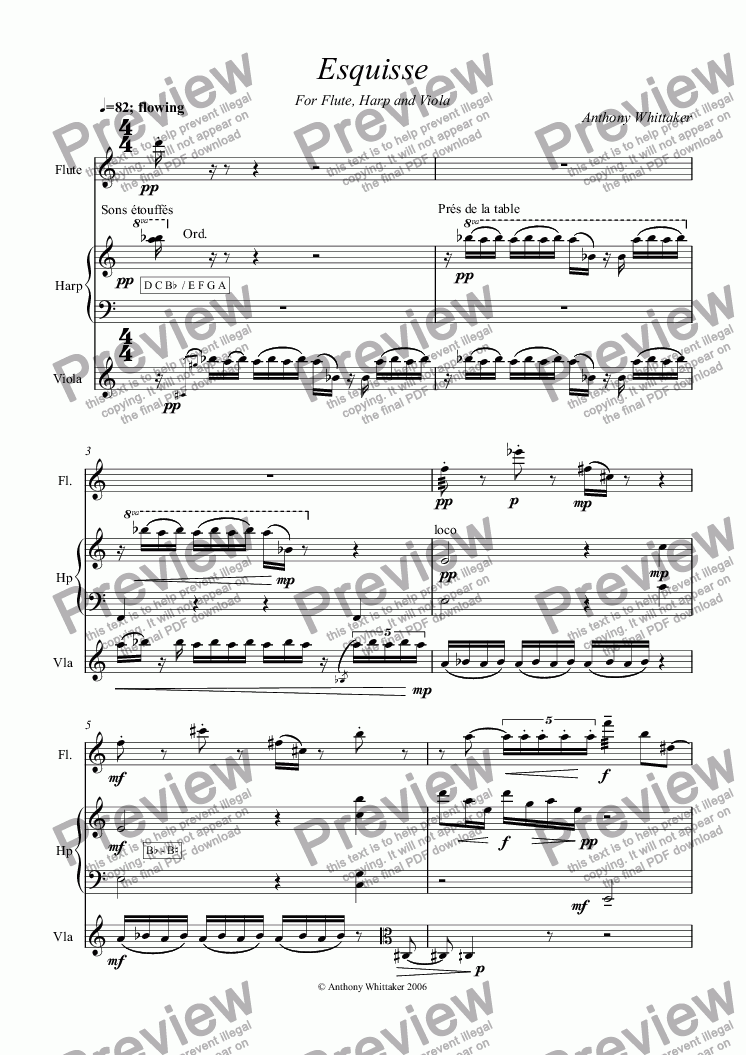page one of Esquisse for Flute, Viola and Harp