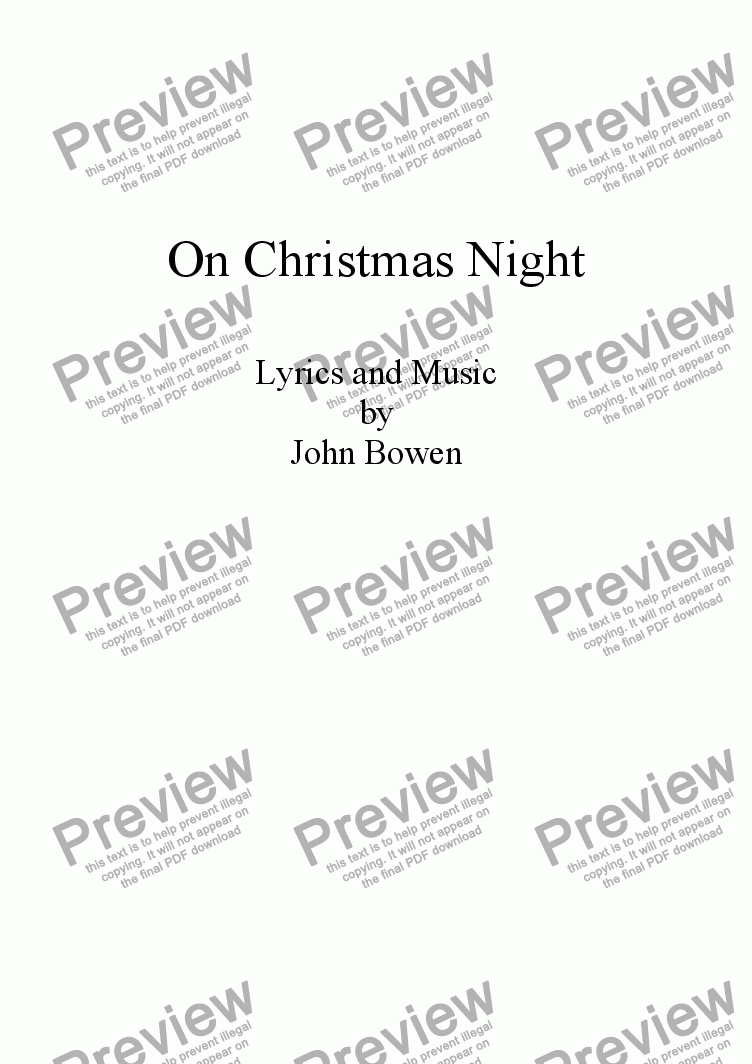 page one of On Christmas Night