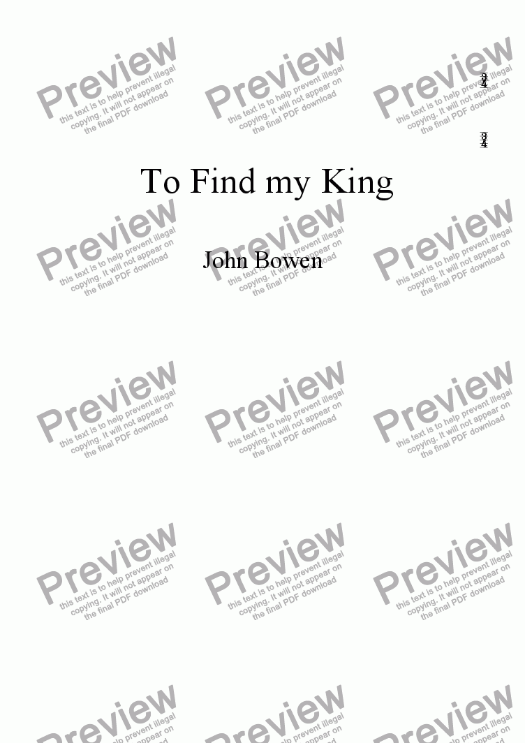 page one of To Find My King