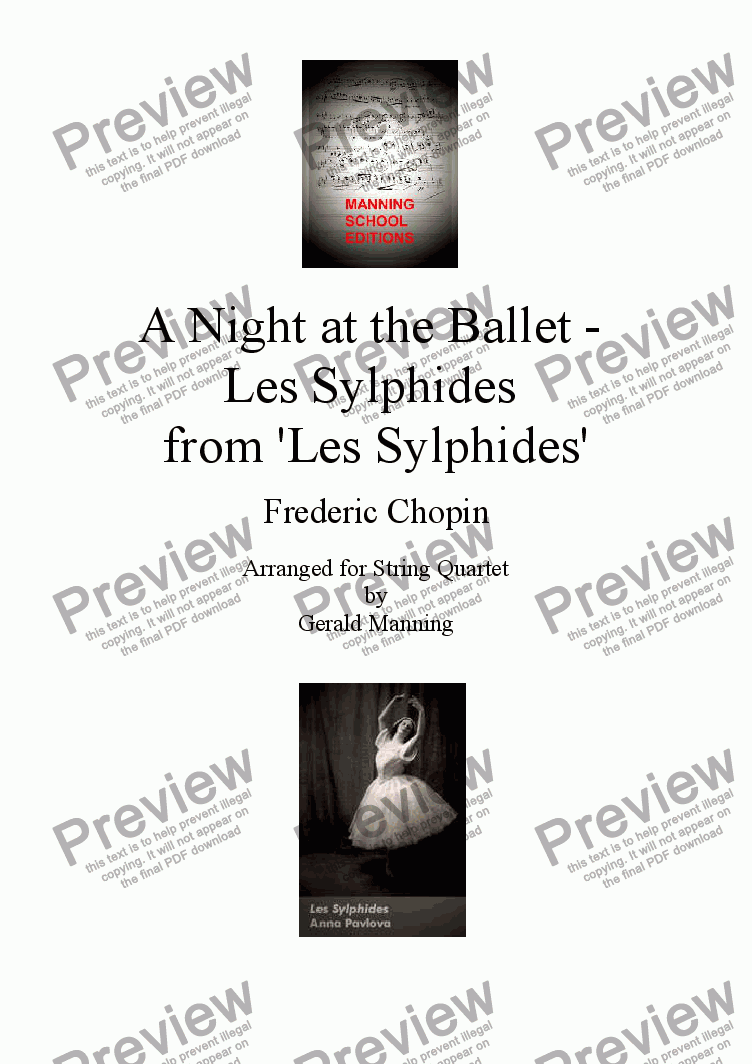 page one of A Night at the Ballet - Chopin, F. - Les Sylphides - arr. for String Quartet by Gerald Manning
