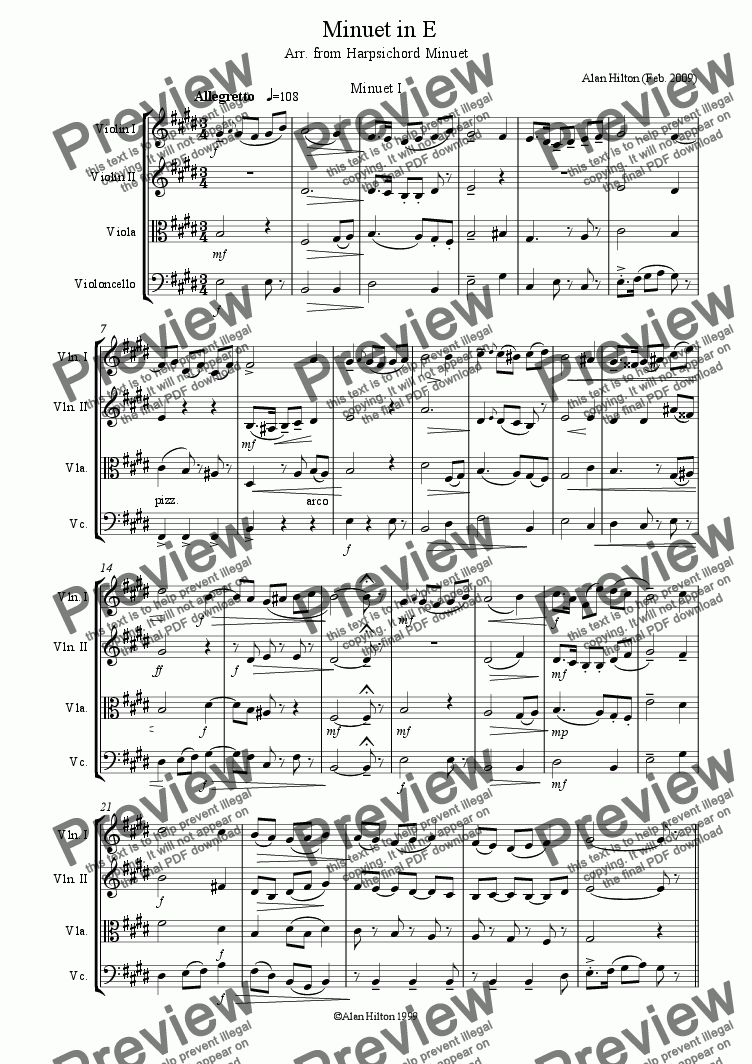 page one of Minuet for String Quartet