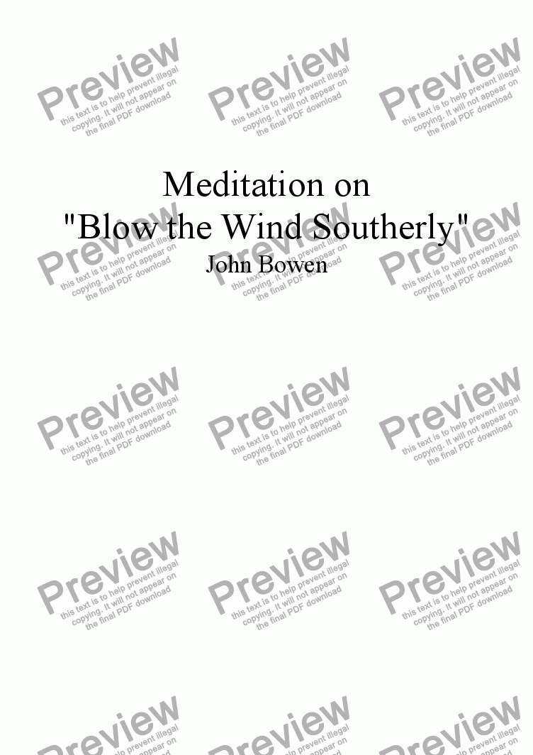 "page one of Meditation on ""Blow the Wind Southerly"""
