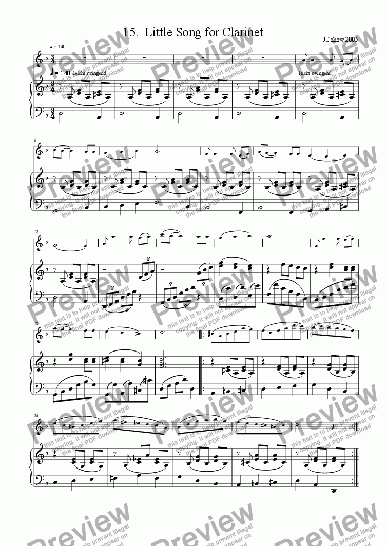 page one of Clarinet Book 15 (Little Song)