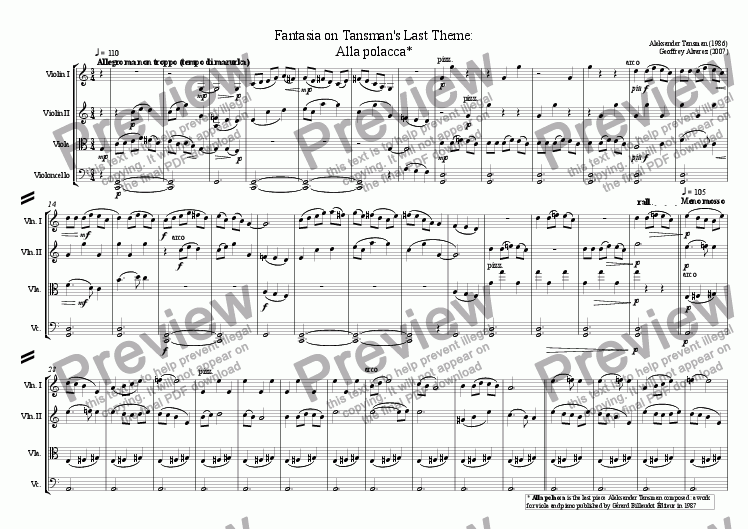 page one of Fantasia on Tansman's Last Theme: Alla Polacca