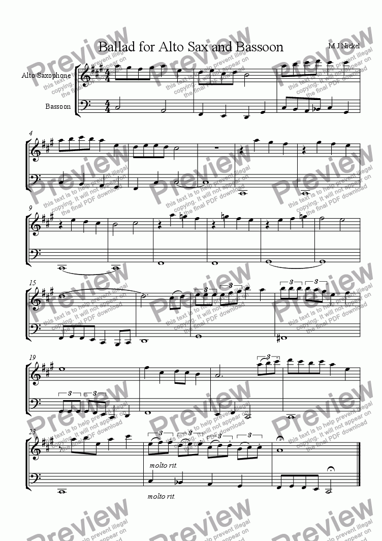 page one of Ballad for Alto Sax and Bassoon