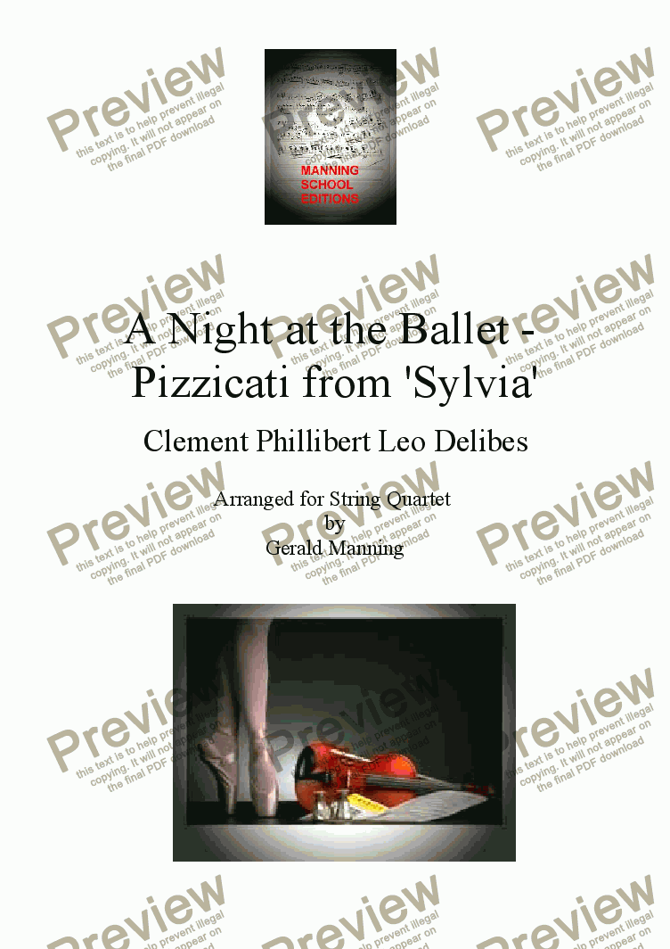 page one of A Night at the Ballet - Delibes, Clement Phillibert Leo. - Pizzicati from 'Sylvia' - arr. for String Quartet by Gerald Manning