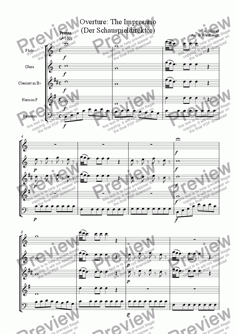 page one of Overture: The Impresario