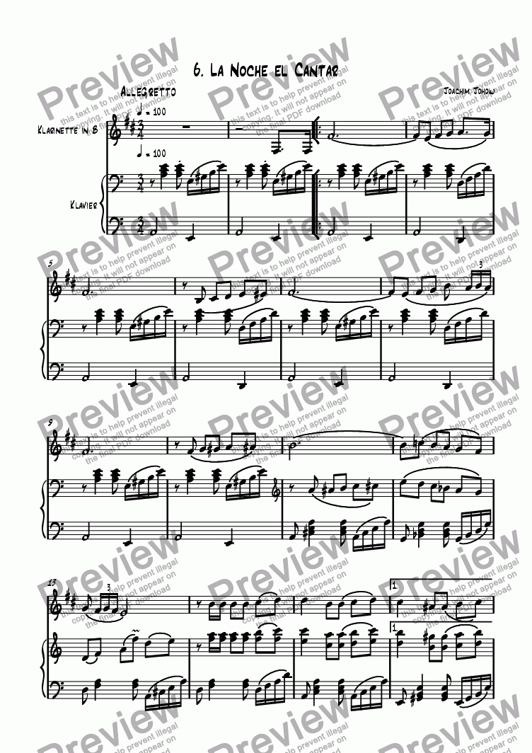 page one of Clarinet Book 12 (La Noche el cantar)