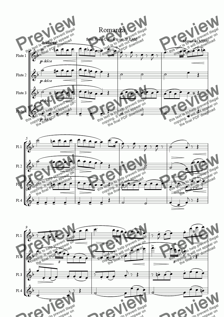 page one of Mozart Romanza for flute quartet