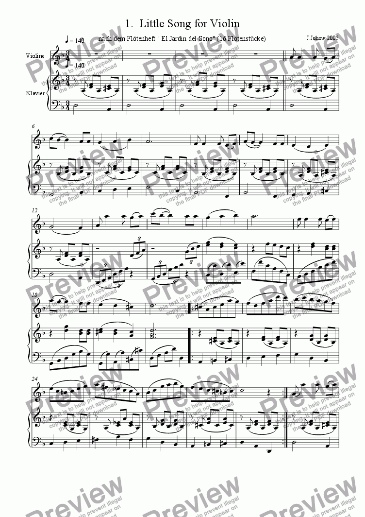 page one of Violin Book 01 (Little Song)