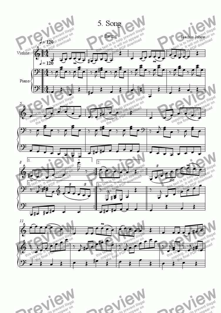 page one of Violin Book 05 (Song)ASALTTEXT