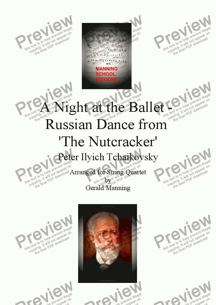 page one of A Night at the Ballet - Tchaikovsky, P. - Russian Dance from 'The Nutcracker' - arr. for String Quartet by Gerald Manning