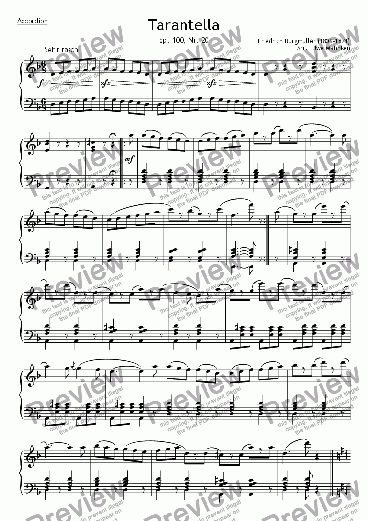 page one of Tarantella op. 100, no. 20 (Accordion)