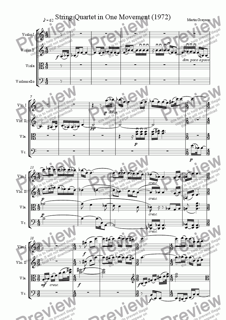 page one of String Quartet  in One Movement (1972)