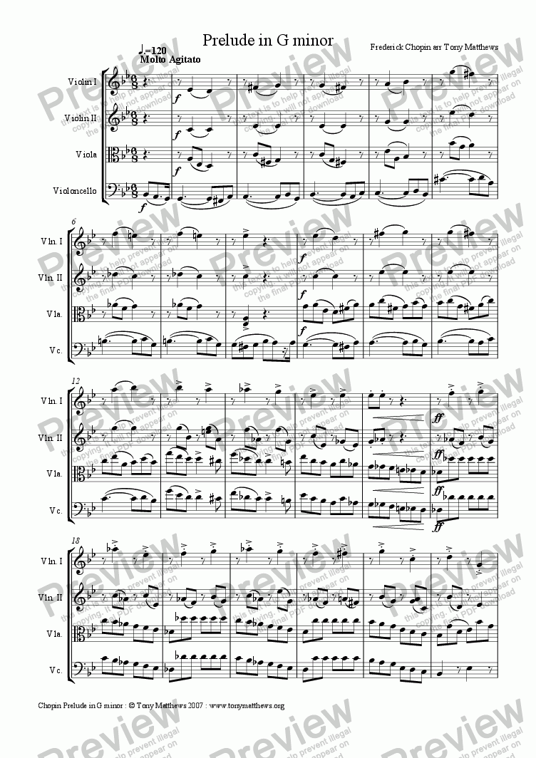 page one of Prelude in G minor . Op 28 No.22