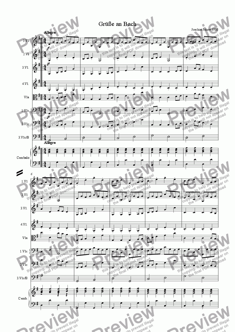 page one of Greetings to Bach (School String Ensemble)