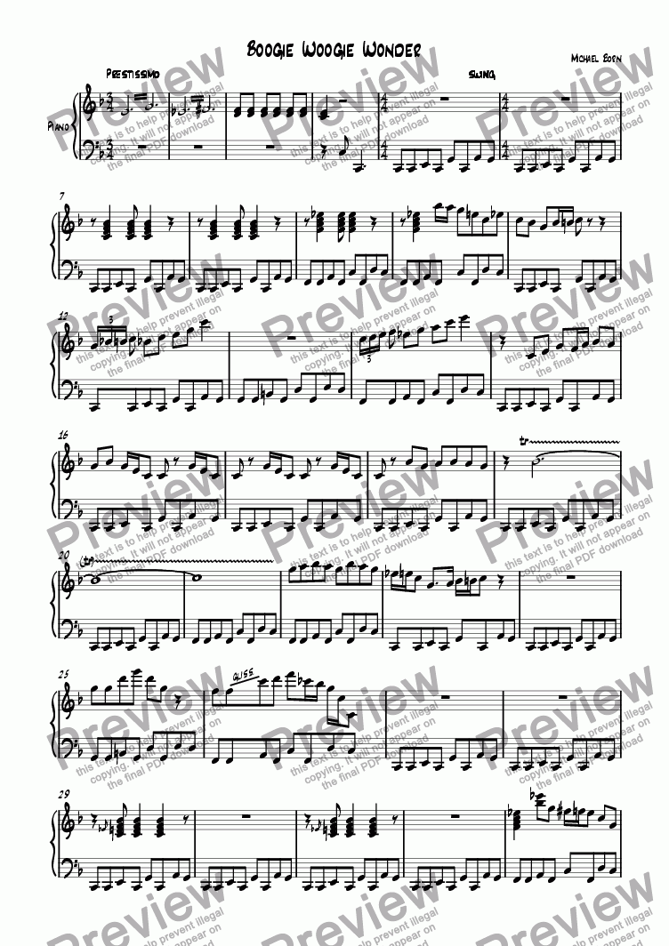 Boogie Woogie Wonder For Solo Instrument Piano By Michael Born Sheet Music Pdf File To Download