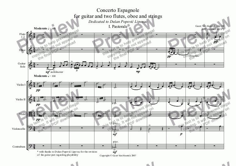 page one of Concerto Espagnole for guitar and two flutes, oboe and strings, Op. 20 - I. Pastorale