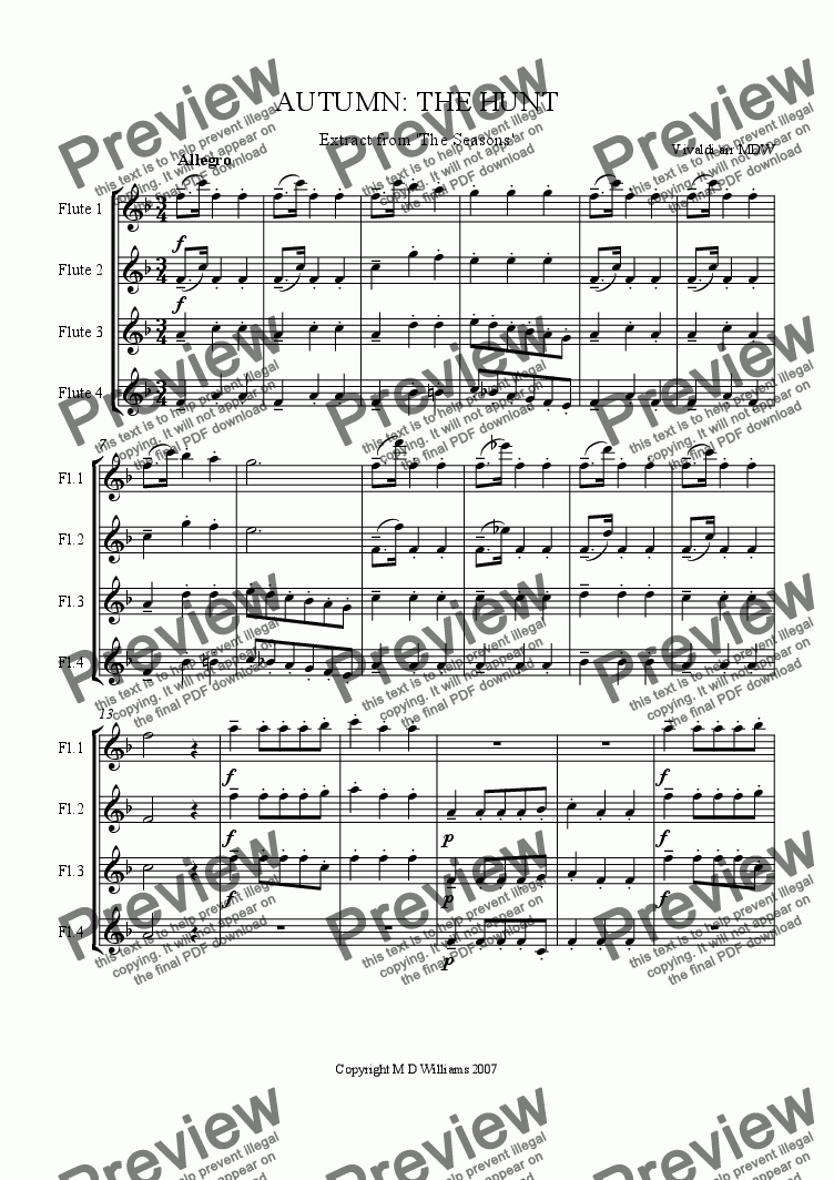 page one of Vivaldi Seasons Suite: The Hunt ( Autumn )