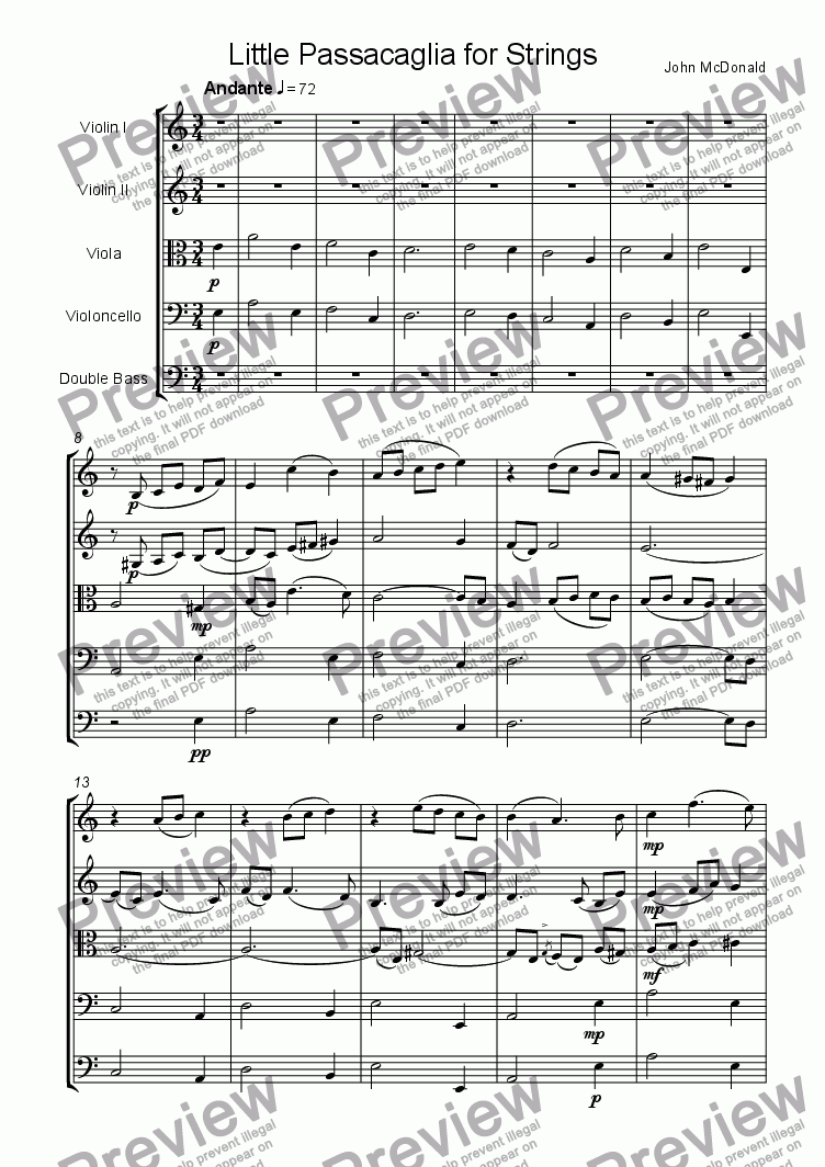 page one of Little Passacaglia for Strings