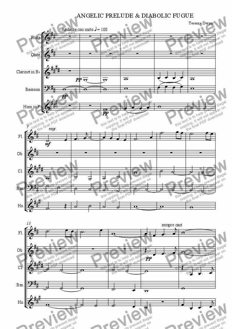 page one of Angelic Prelude & Diabolic Fugue