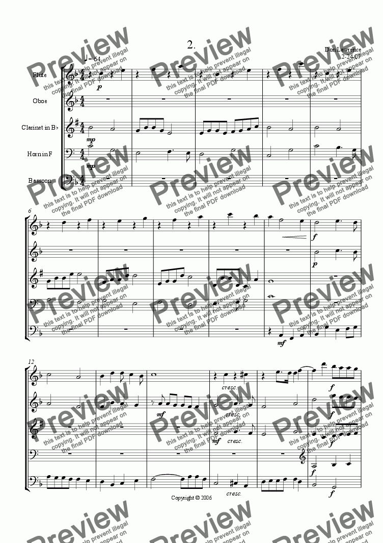 page one of Four Humors for Wind Quintet -- 2: NostalgiaASALTTEXT