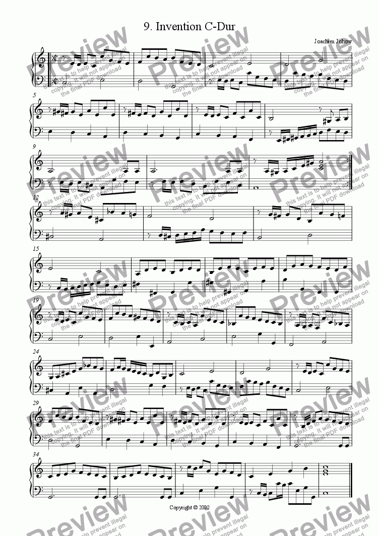 page one of Piano Book 009 (Invention C)