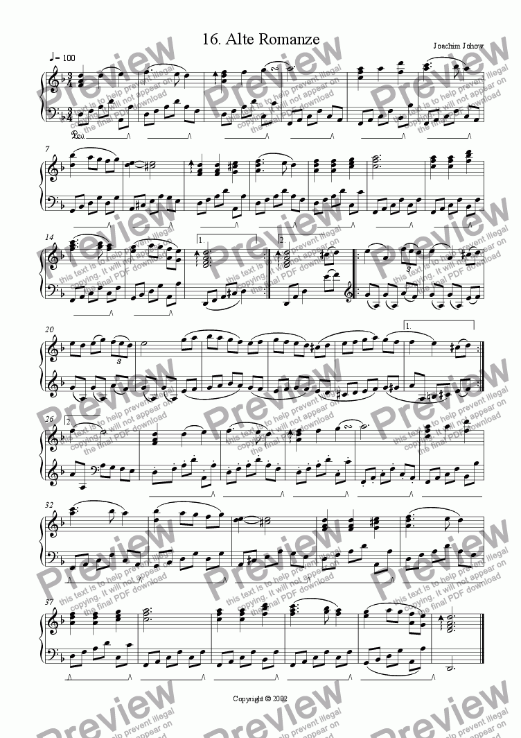 page one of Piano Book 016 (Alte Romanze)