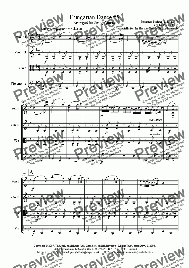 page one of Hungarian Dance #5