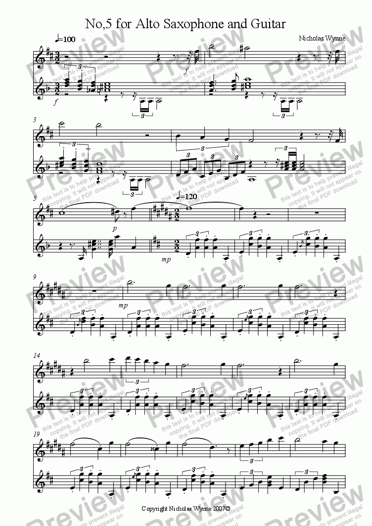 page one of No,5 for Alto Saxophone and Guitar