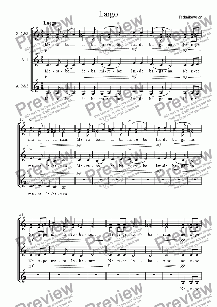 page one of Largo by Tchaikowsky (for choir; SSAAA)