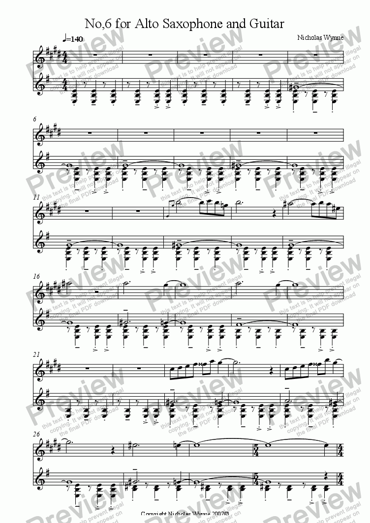 page one of No,6 for Alto Saxophone and Guitar